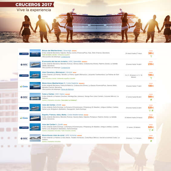 Ofertas de Arganda Viajes, Cruceros 2017