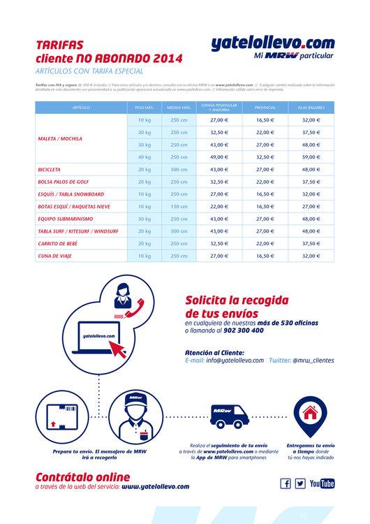 Ofertas de MRW, Tarifas 2014 no abonados