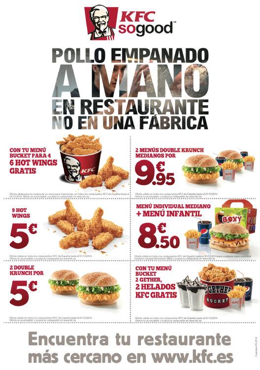 Ofertas de KFC, Pollo empanado a mano en el restaurante