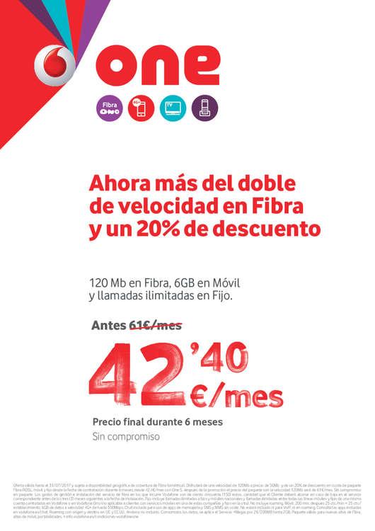 Ofertas de Vodafone, Ahorra más del doble de velocidad en fibra y un 20% de descuento
