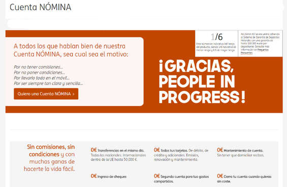 Ofertas de ING Direct, ¡Gracias, People in Progress!