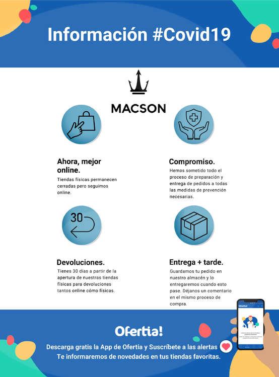 Ofertas de Macson, Información Macson #Covid19