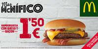 Hamburguesa con queso y bacon por 1,50€