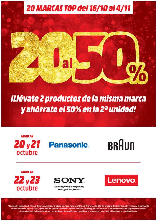 Ofertas de Media Markt, 20 marcas al 50%