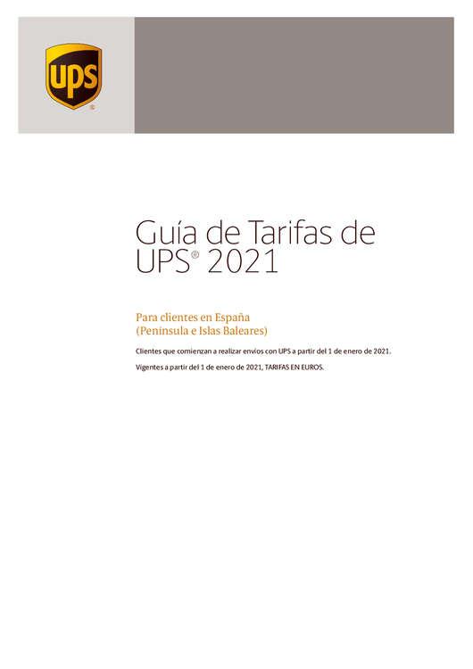 Ofertas de UPS, Guía de tarifas 2021 a partir de Enero