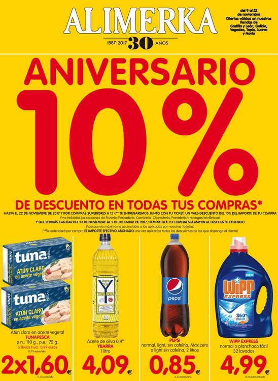 Ofertas de Alimerka, Aniversario con un 10% de descuento