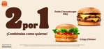 Ofertas de Burger King, 2 por 1 ¡Combínalas como quieras!