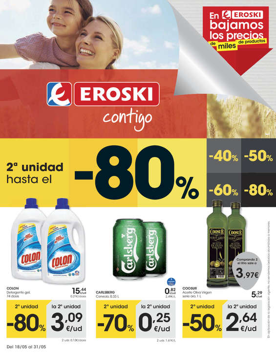 Ofertas de Eroski, 2ª unidad -80%